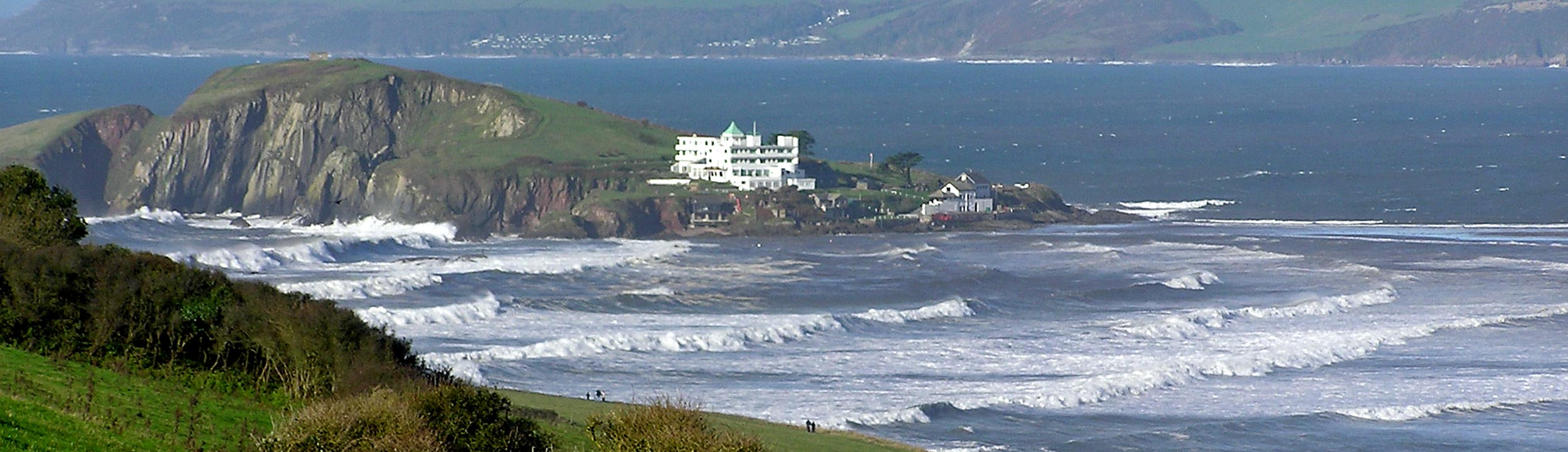 View of rough seas at Bigbury
